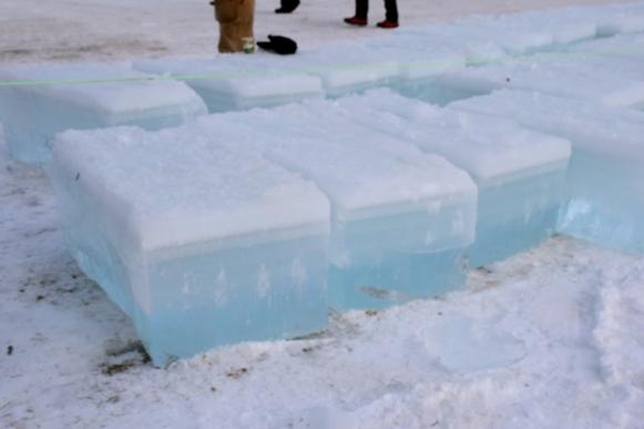 Preparing ice for the Saranac Lake Ice Sculpture