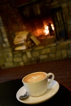 Latte and fire at Cafe Vero in Lake George, NY