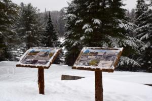 Information station at Santanoni Preserve