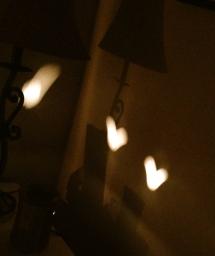 Light Hearts shining on the wall