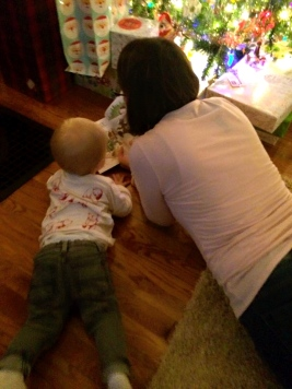 Tanner reading with Mimi