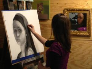 My granddaughter in her father's studio