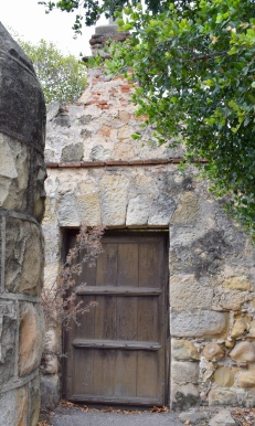 Old door in back of Santa Barbara Mission