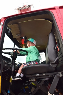 Tanner checking out the fire truck