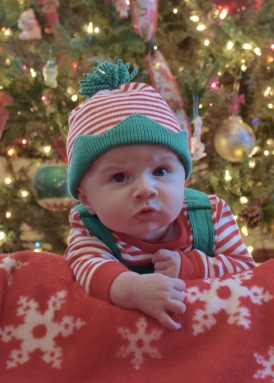 My grandson Colt, probably wondering why he is wearing this outfit.