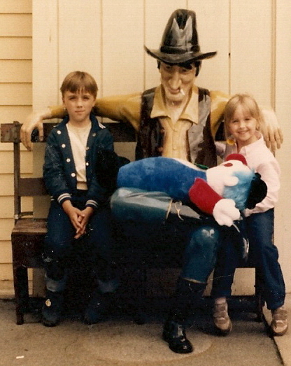 Hanging with a cowboy at Story Town, Lake George, NY