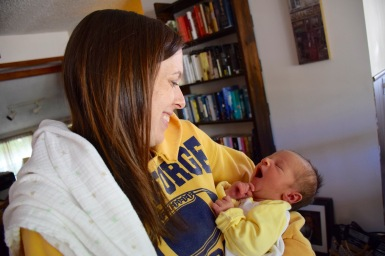 Mom adoring her new son, Colt Matthew