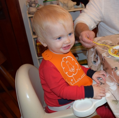 Tanner enjoying a meal