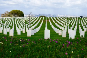 Fort Rosecrans National Cemetery landscape and view of San Diego