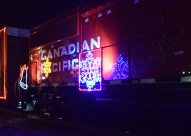 The Canadian Pacific Holiday train delighting children along the tracks