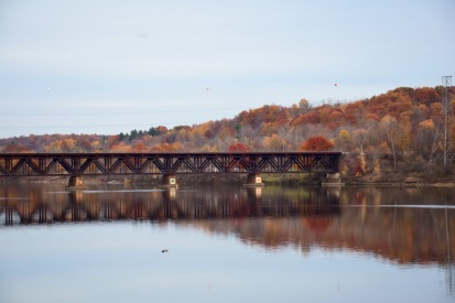 Stillwater train trestle in late autumn