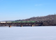 Train trestle in winter