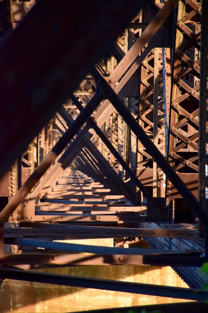 Under the train bridge