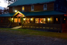 Glow from the lights in the Lodge the night before Cassie's wedding