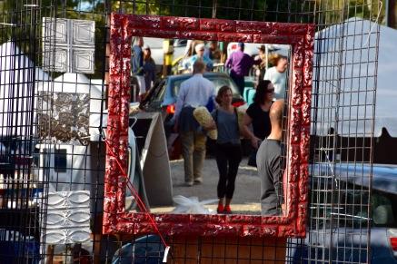 A view of the flea market through the mirror