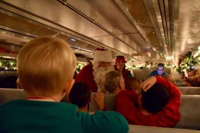Glow of Christmas lights leading the way for Santa