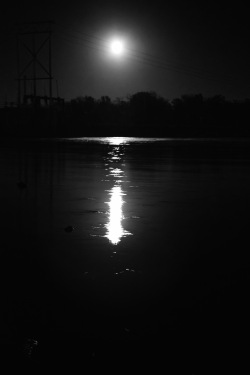 Moon glow on the Hudson River in Stillwater NY